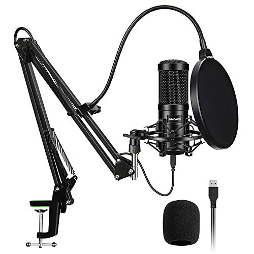 USB Mikrofon,Aokeo 192kHZ/24bit Podcast-Mikrofonsets mit Stoßdämpferhalter,Windschutzscheibe,Popfilter,für Rundfunk,Aufnahme,YouTube,Podcasts