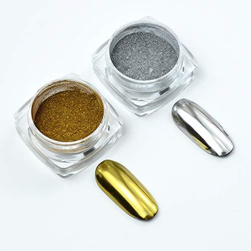 Meilds, polvere di titanio per unghie, 2 colori, effetto specchio, per nail art, pigmenti glitterati, per manicure