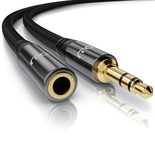Primewire – 10m - Cable alargador Audio AUX - Extensión Jack Macho a Hembra 3,5mm - Compatible con Apple iPhones iPads, Auriculares, Smartphones Reproductores MP3 tabletas, estéreo HiFi etc - Negro