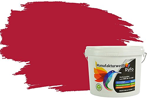 RyFo Colors Bunte Wandfarbe Manufakturweiß Weinrot 3l - weitere Rot Farbtöne und Größen erhältlich, Deckkraft Klasse 1, Nassabrieb Klasse 1