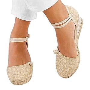 Aniywn Women Closed Toe Retro Wedge Casual Sandals Buckle Strap Ladies Espadrilles Wedge Sandals Beige