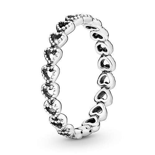Pandora Jewelry Band of Hearts Sterling Silver Ring, Size 6
