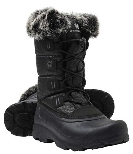 ArcticShield Women's Polar Waterproof Insulated Durable Winter Snow Boots (8, Black)