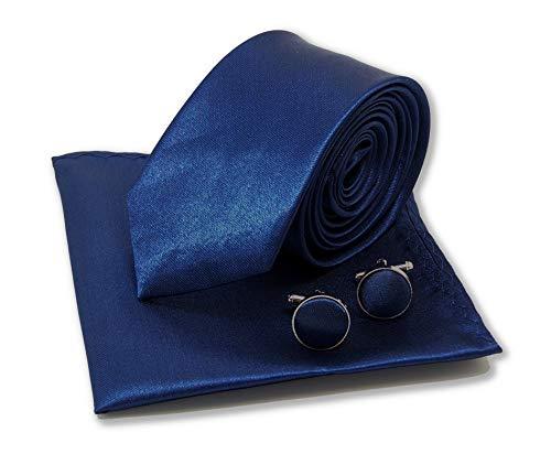 Cravate slim bleu-marine, pochette-mouchoir costume et boutonnières-manchettes