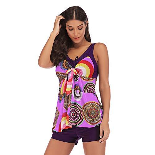 Honestyi Femme Grande Taille Swimwear Mode Imprimé Swimsuit Chic Slim Fit Casual Jupe de Bain Taille Haute Shorts Ensembles Deux Pièces Sexy Mode Maillots Deux Pièces Bikini de Plage