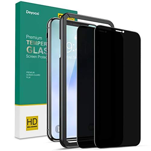 Deyooxi Cristal Templado Privacidad para iPhone 11 Pro MAX/iPhone XS MAX,2 Unidades 3D Completa de Cobertura Total Pantalla Protectora Antiespias,Anti Espía Vidrio Templado Protector,Negro