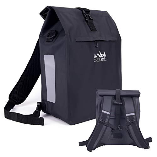 LERAI® Fahrradtasche für Gepäckträger (schwarz, 18 Liter) - wasserdichtes Fahrrad-Zubehör: Radtasche & Rucksack & Tasche - extra leicht zu befestigen