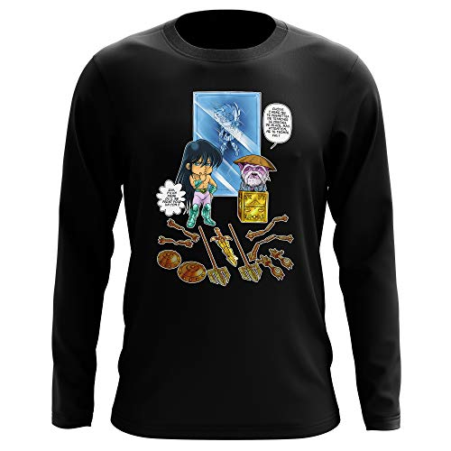 T-shirt manches longues Noir parodie Saint Seiya - Shiryu du Dragon et Dohko chevalier d'or de la Balance - Un choix très difficile... (T-shirt de qualité premium de taille XL - imprimé en France)