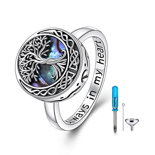 925 Sterling Silver Tree of Life Urn Ring for Ashes ,Celtic Knot Family Tree Memorial Keepsake Jewelry Always in My Heart Cremation Ring for Women Men