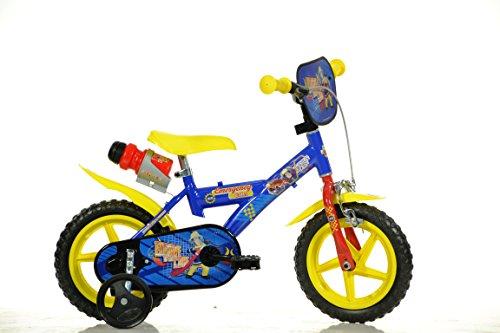 Feuerwehrmann Sam Kinderfahrrad Fireman Sam Jungenfahrrad – 12 Zoll | TÜV geprüft | Original Lizenz | Kinderrad mit Stützrädern - Das Fahrrad aus Fireman Sam als Geschenk für Jungen