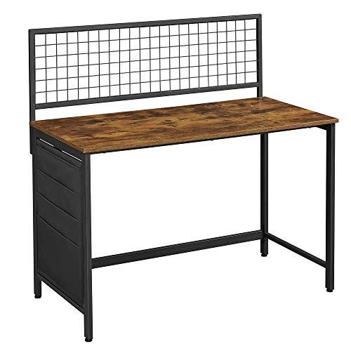 VASAGLE Computertisch, Schreibtisch mit Gitterwand, Aufbewahrungstaschen aus Stoff, für Bilder, Schreibwaren, industriell, vintagebraun-schwarz LWD053B01
