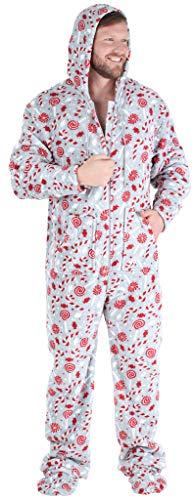 SleepytimePJs Men's Fleece Hooded Footed Onesie Pajamas, Candy Cane, XL