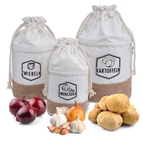 G.a HOMEFAVOR Set di Contenitore ConservazionPer Patate, Cipolle e Aglio, Sacchetto per Patate, Cipolla e Aglio, Verdure per Una Lunga conservazion