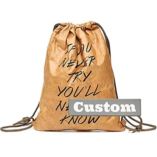FireH Nombre Personalizado Playa Bolsa de cordón cordón para Mujeres Mujeres Ligeras Hombres Gimnasio Mochila (Color : Marrón, Size : One Size)