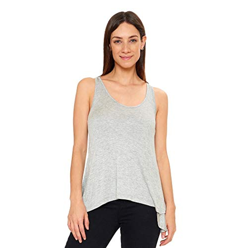Blusa Mujer sin manga con olán en espalda confeccionada en viscosa Gris 330481 – Gris – CH