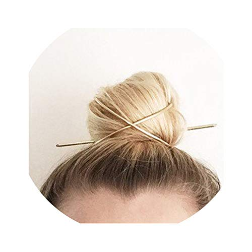 Original Design High Polished Alloy Round Top Hair Cuff Bun Cage Minimalist Bun Holder Cage Hair Stick Wedding Hair Accessories,0131 Gold