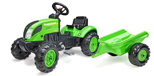 FALK Country Farmer - Tractor de Pedales con Remolque, a Partir de 2 años, Fabricado en Francia, Placa de matrícula Personalizable, Volante direccional con bocina – 2057L