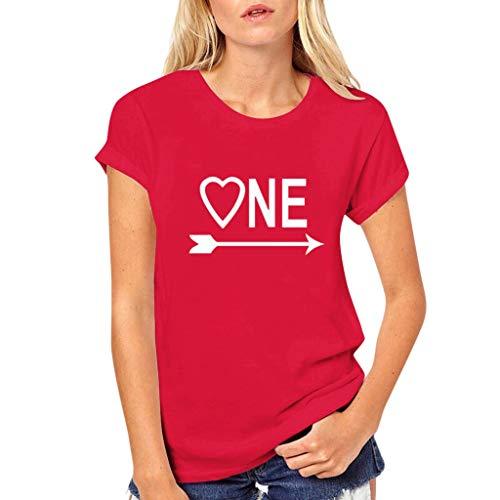 Auifor Unisex One Love Letters afdrukken T-shirt, O-hals Slim Fit T-shirt korte mouwen tops blouse