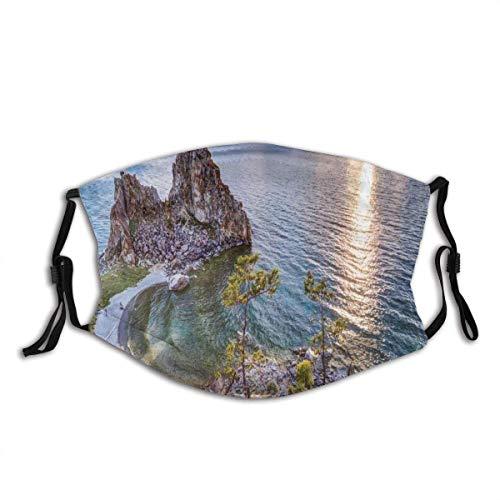 HUIDE Protector bucal transpirable para la boca y el polvo, Shaman Rock Lake Baikal In Russia Coastal Theme Sun Rays Scenic Vista Print, decoración para la cara