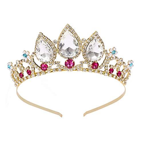 Tiara di compleanno per ragazze donne corona d'oro cristallo fascia strass gemma rosso accessori capelli principessa Hairpiece per festa di Halloween costume regali di Natale