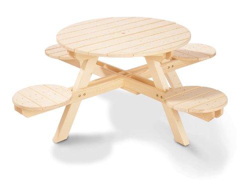 Pinolino Sitzgarnitur Nicki rund, schicke Sitzgruppe für Kinder, Massivholz unbehandelt, super für den Garten, Terrasse, Freizeit & Outdoor, Maße 140 x 140 x 50 cm (Art.-Nr. 20 10 47)