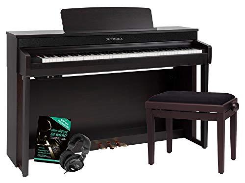 Steinmayer DP-361 RW Digitalpiano - 88 Tasten mit Hammermechanik - Ebony/Ivory Touch - Bluetooth Audio/MIDI - Set inkl. Klavierbank, Kopfhörer und Schule - Rosenholz
