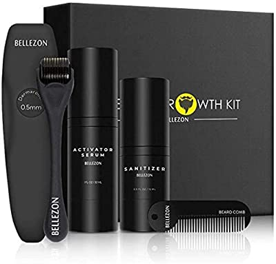 Beard Growth Kit, Jane Choi 2019 Newest Beard Grooming Tools for Beard Rapid Growth and Thickening, Beard Growth Activator Serum, Beard Roller, Beard Comb, Perfect Gift for Men Dad by Blue Maly