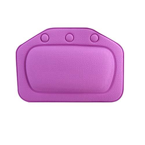Jroyseter Baignoire Oreiller Éponge Antidérapante Étanche Relaxant Baignoire Oreiller Coussin avec Ventouse Tête Cou Cou Brace Arrière pour Famille Baignoire (Purple)