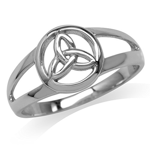 Silvershake White Gold Plated 925 Sterling Silver Celtic Triquetra Trinity Knot Ring Size 10