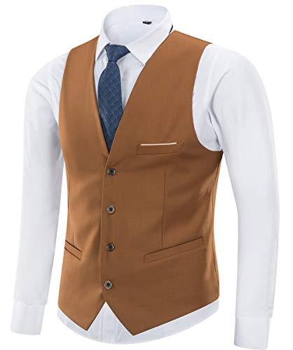 Yingqible Herren Anzugweste Weste V-Ausschnitt Ärmellose Westen Slim Fit Anzug Business Hochzeit Smoking Sakko Weste Elegant (Medium, Braun)