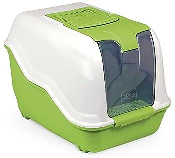 SEGMINISMART Toilette pour Chats XXL Netta Maxi - Blanc Vert - Spécial pour Les Grands Chats de Race
