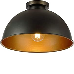 Lámpara de Techo - Ø310mm, 60W / E27 / IP20 / Clase A++ hasta E, Diseño Industrial (Negro/Dorado) - Iluminación Interior Moderna y Decorativa de Estilo Retro y Vintage