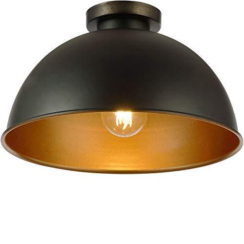 Lampada da Soffitto a Cupola - Ø 31 cm, LED, E27, Max. 60 W, Classe di Efficienza Energetica A++ a E, Stile Vintage Industriale, Nero Dorato - Lampadario da Cucina, Bar, Sala da Pranzo, Ristorante