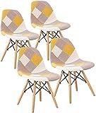 LOVEMYHOUSE Sillas de Comedor Patchwork Juego de 4 sillas de Ocio con Asiento Suave y Patas de Haya de Respaldo para el hogar la Cocina la Oficina (Amarillo)