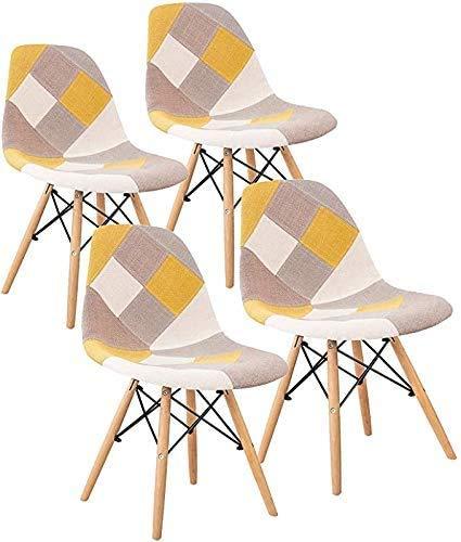 LOVEMYHOUSE Sillas de Comedor Eiffel Patchwork Juego de 4 sillas de Ocio con Asiento Suave y Patas de Haya de Respaldo para el hogar la Cocina la Oficina (Amarillo)