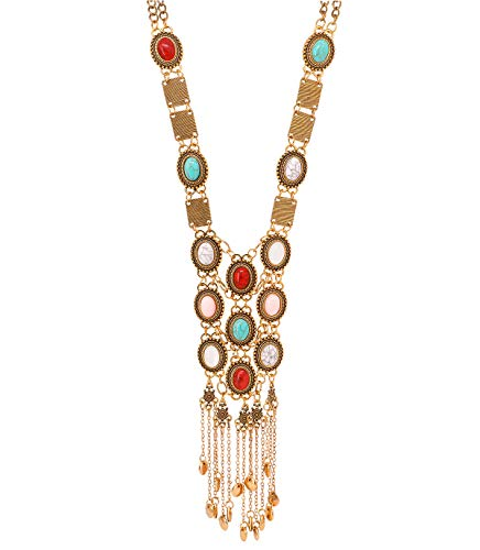 Reliablee African Long Vintage Bib Statement Necklace Women. Chunky Jewelry Sets Halloween Party Box. (R-Gold)