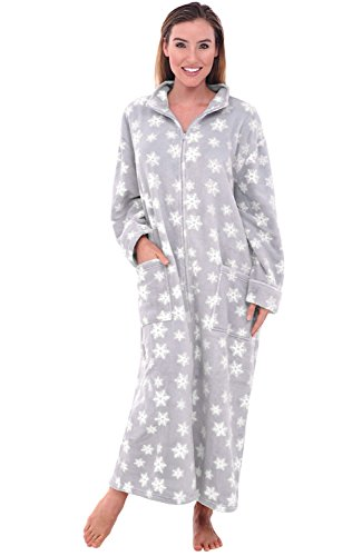 Alexander Del Rossa Women's Zip Up Fleece Robe, Warm Loose Bathrobe, Small Medium Grey with White Snowflakes (A0300R25MD)