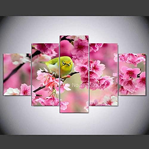 QWASD 5 Paneles Cuadros En Lienzo Imágenes Decorativas Flor De Pájaro Cuadros Decoracion Salon Modernos 3D,5 Piezas De Lienzo,Impresiones En Lienzo Decoración para El Arte