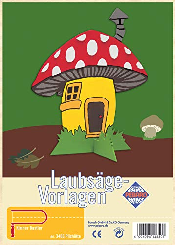Pebaro Laubsägevorlage aus Sperrholz Motiv Pilzhütte, Holz, DIN A4