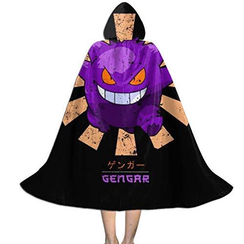 KUKHKU Monster of The Pocket Gengar Retro Japanische Unisex Kinder Kapuzenumhang Umhang Umhang Cape Halloween Weihnachten Party Dekoration Rolle Cosplay Kostüme