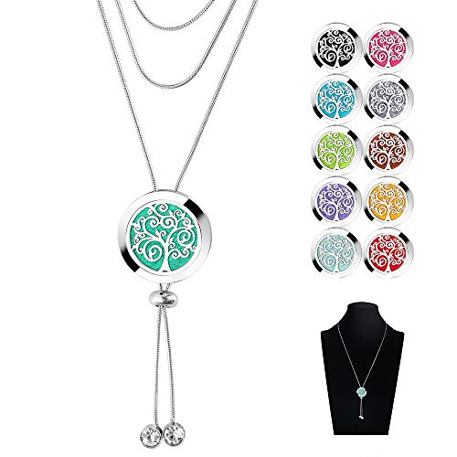 Essential Oils Diffuser Necklace - 316L Stainless Steel Sliding Clasp Ring Aromatherapy Locket Pendant with 11 Color Refill Pads
