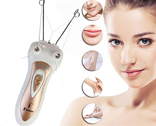 Electric Body Facial Hair Remover Pull Surface Device Defeatherer Cotton Thread Epilator Rechargeable Epilator Ladies Shaver (New Version White)
