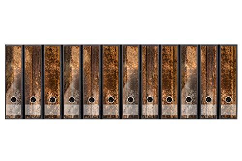 codiarts. Set 12 Stück breite Ordner-Etiketten selbstklebend Ordnerrücken Sticker Holz vintage braun