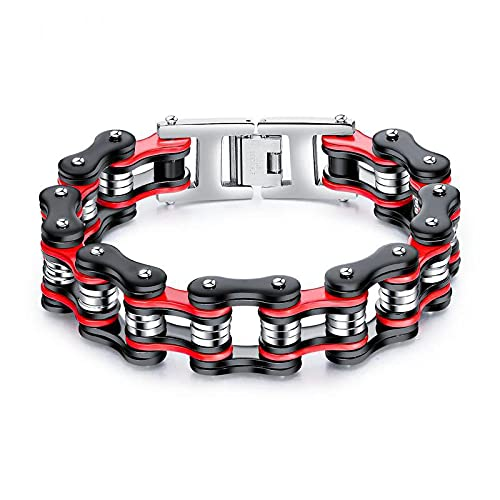UUIC Pulsera de locomotora de moda de acero de titanio cadena de bicicleta de acero inoxidable pulsera de hombre