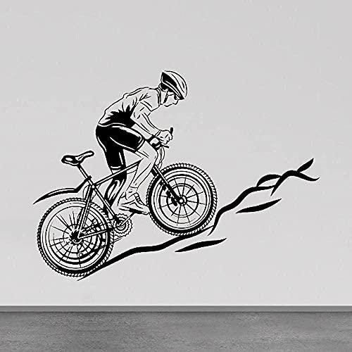 Adesivo Murale Decalcomania Della Bici Vinile Soggiorno Bici Bici Da Corsa Camera Dei Ragazzi Vinile Cyclette Atleta Montaggio A Parete Palestra 57X78 Cm Decorazione Murale Della Casa