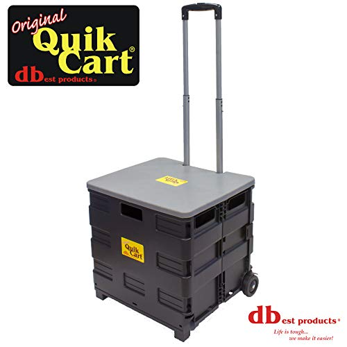 dbest products Quik Cart two wheeled collapsible handcart with grey lid rolling utility with seat heavy duty lightweight