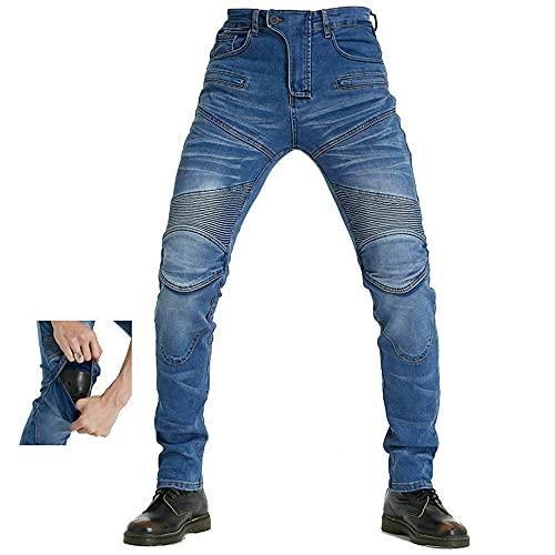 Pantalones Moto Hombre con Protección Carreras Invierno, Pantalones Hombre Vaqueros Motocross Motocicleta Pantalón Trabajo Elástico (B~Azul, XXL)