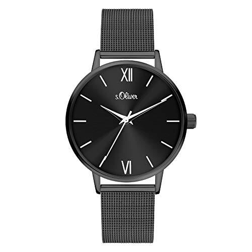 s.Oliver Damen Analog quarz Armbanduhr mit Edelstahl SO-4141-MQ