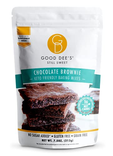 Good Dees Low Carb Baking Mix, Chocolate Brownie Mix, Keto Baking Mix, No Sugar Added, Gluten Free, Grain-Free, Nut-Free, Soy-Free, Diabetic, Atkins & WW Friendly (1g Net Carbs, 12 Servings)