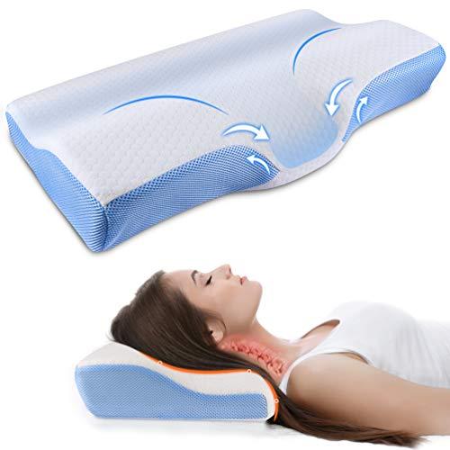 ikeepi - Almohada cervical, almohada ergonómica con memoria de forma, 60 x 30 cm, antironquidos, almohada cervical para un buen sueño